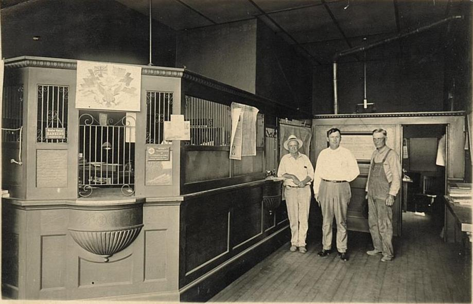 Interior of Farmers State Bank circa 1922